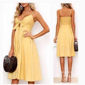 LuLus Tie Front Midi Dress
